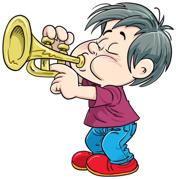 Best Boy Playing Trumpet Illustrations, Royalty.