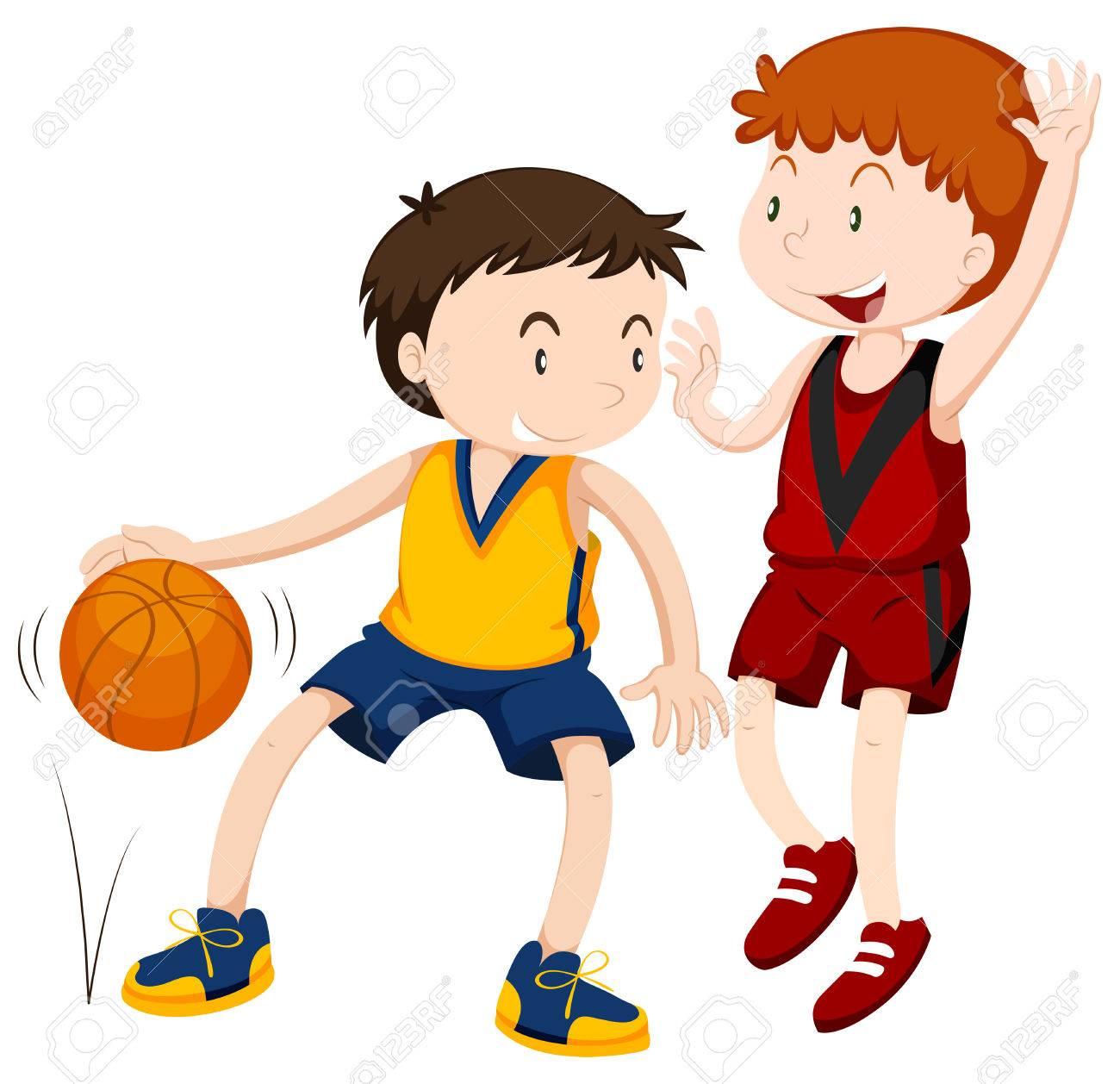 Two boys playing basketball illustration.
