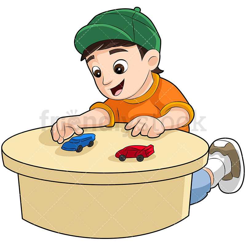 A Young Boy In A Baseball Cap Playing With Race Cars On A Table.