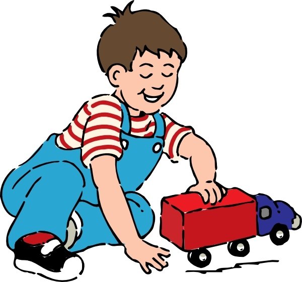 Boy Playing With Toy Truck clip art Free vector in Open office.