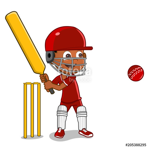 african american cartoon boy playing cricket \