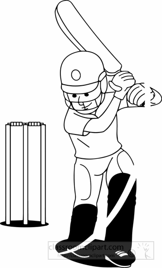 Black White Boy Playing Cricket Clipart » Clipart Station.