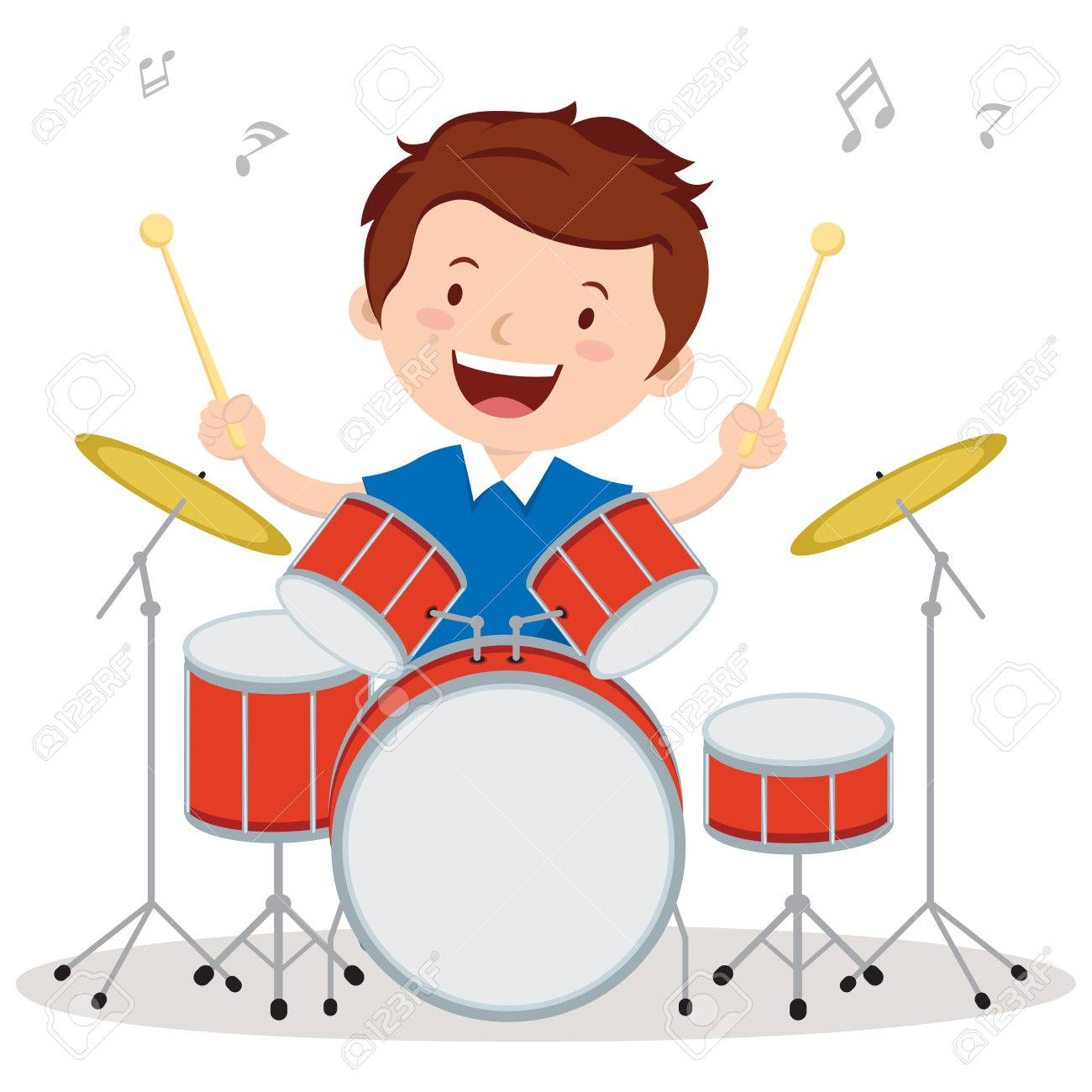 Little drummer. Vector illustration of a little boy playing drums..