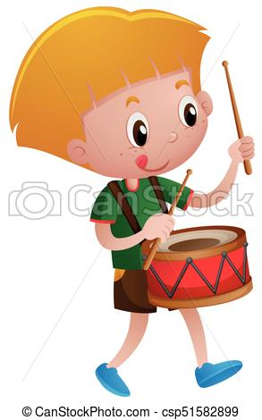 Little boy playing drum.