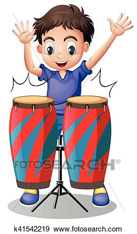 Little boy playing with drums Clip Art.