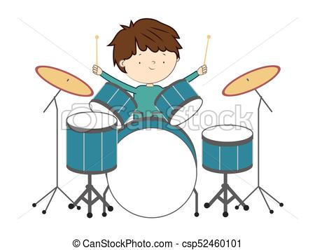 Boy playing drums isolated on white background.