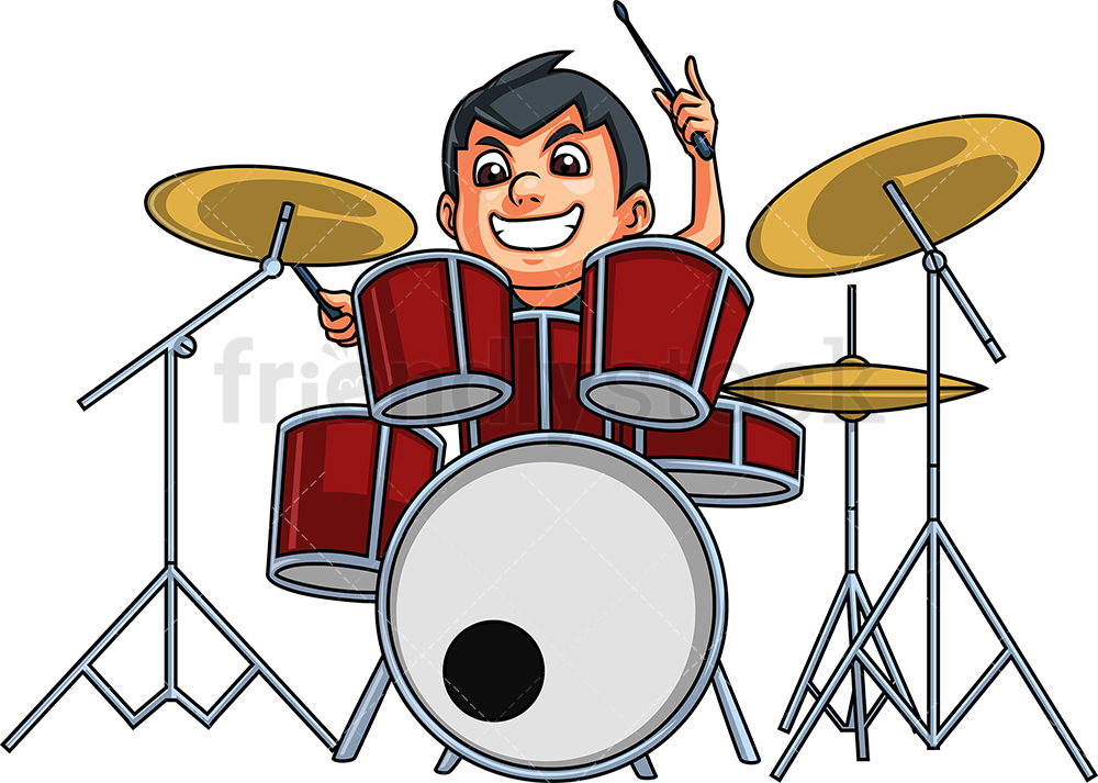 Kid Playing Drums Cartoon Clipart Vector.