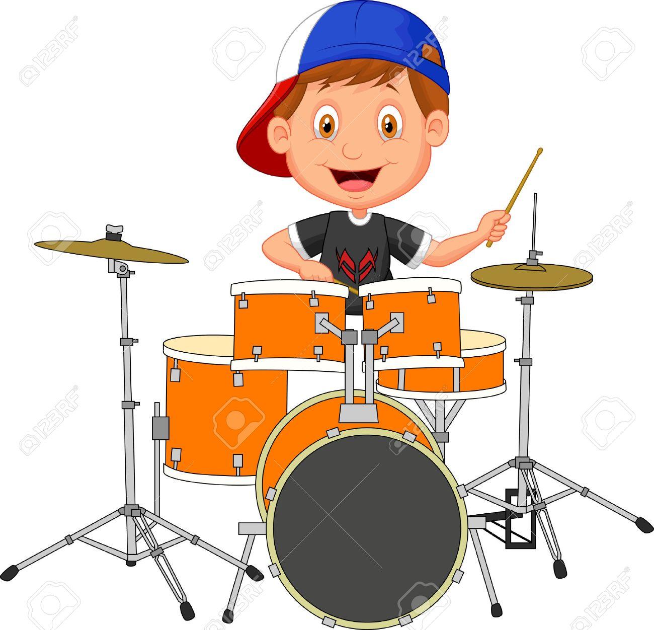 Little boy cartoon playing drum.