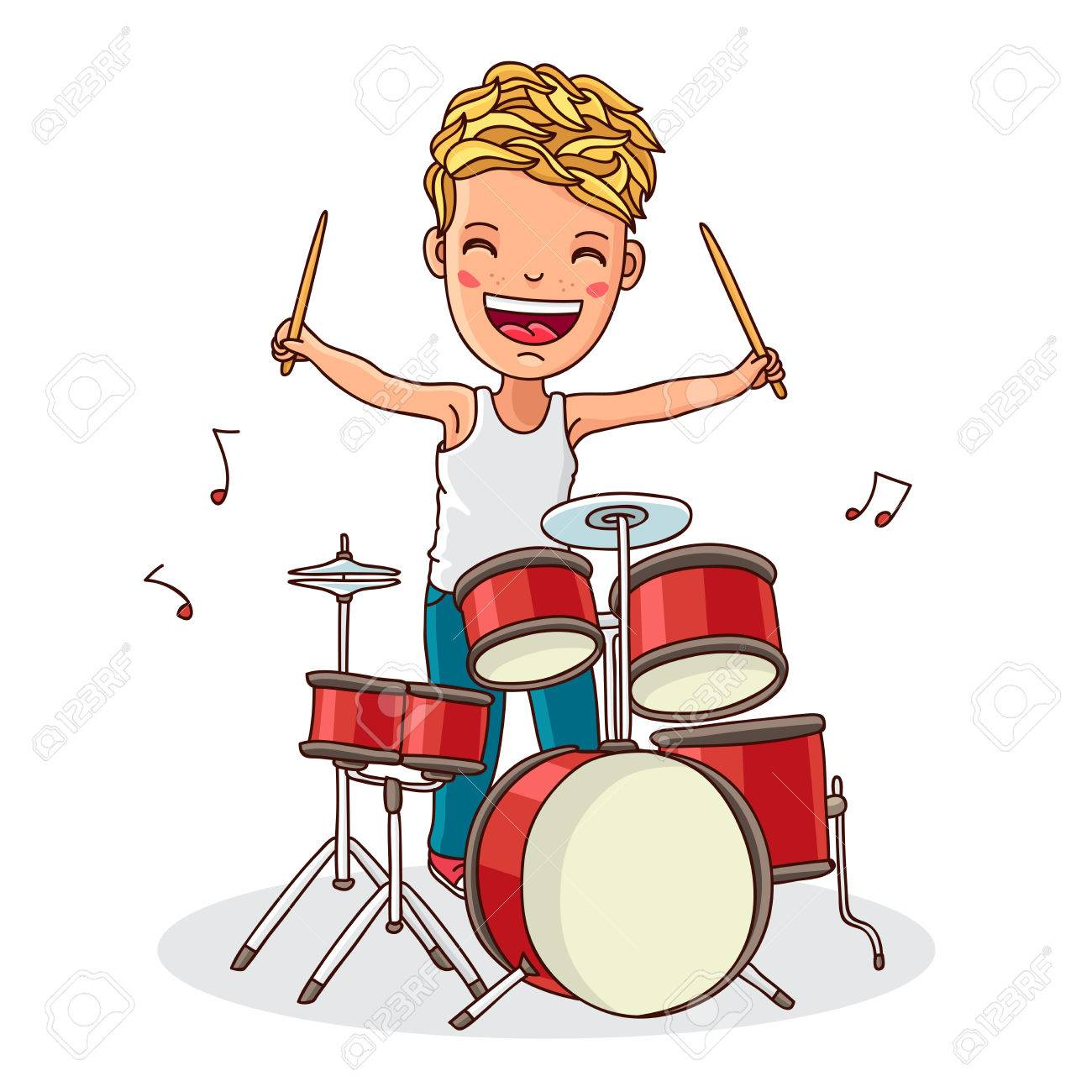 Little drummer. Boy plays the drums. Vector illustration on white...