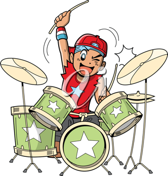 Royalty Free Clipart Image of a Boy Playing Drums.