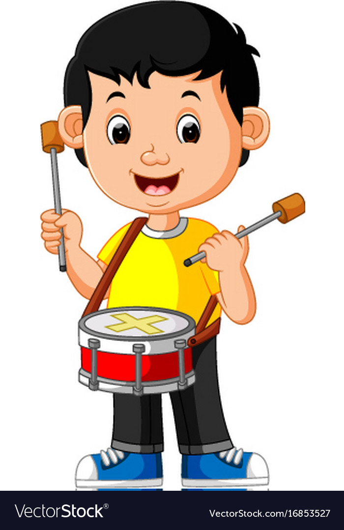 Kid playing with a drum.