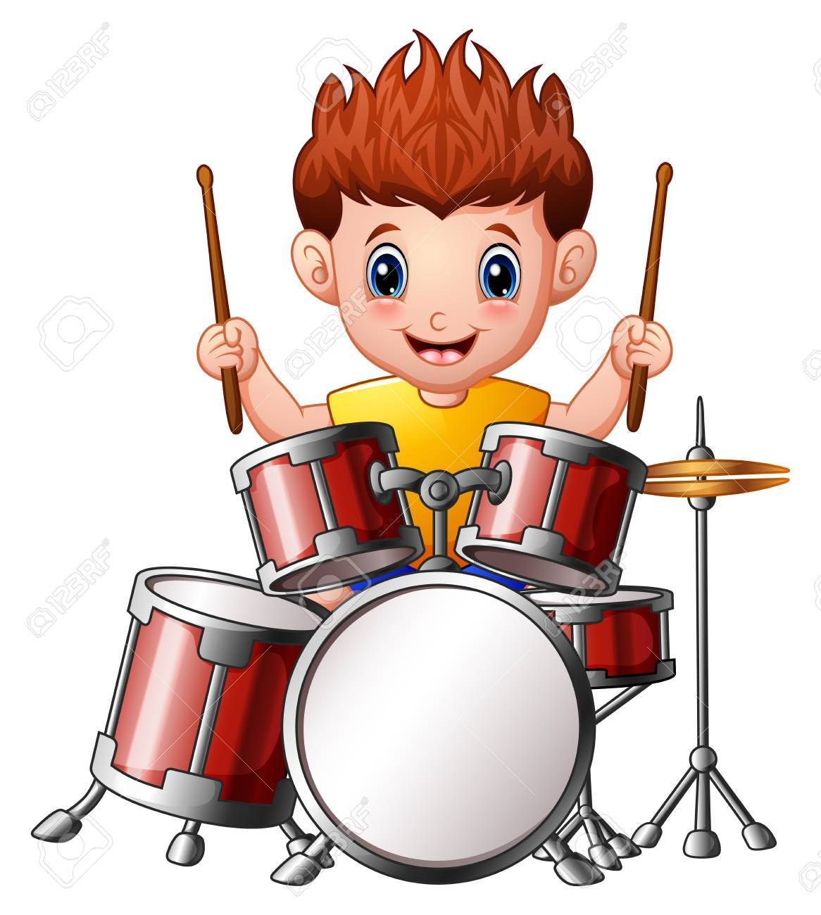 Vector Illustration of Cartoon boy playing a drums.