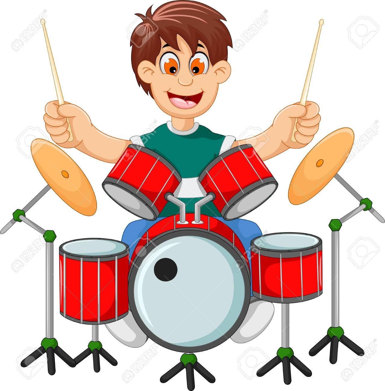 funny boy cartoon playing drum.