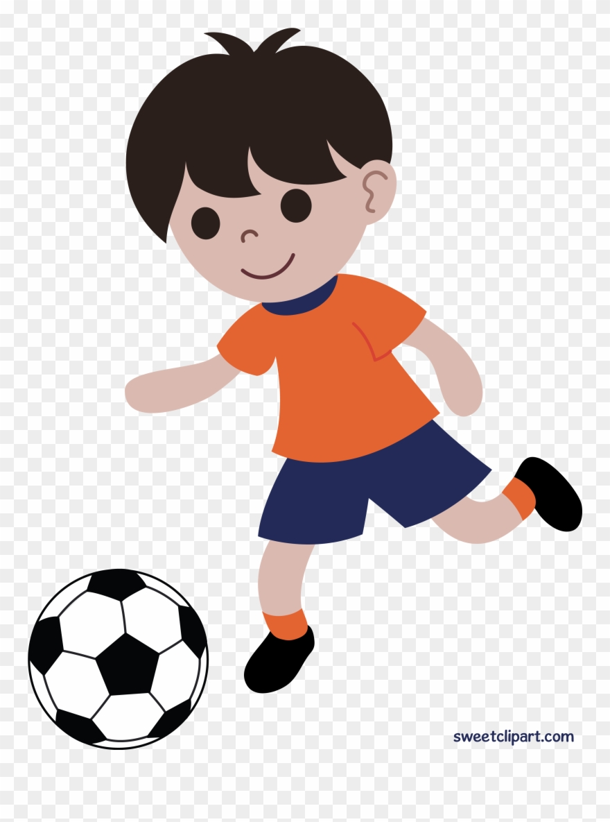 Boy Playing Soccer Or Football Clip Art.