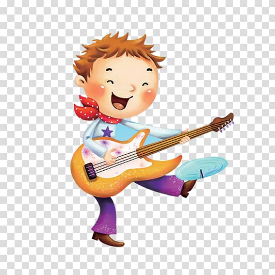 Cartoon boy playing guitar transparent background PNG.