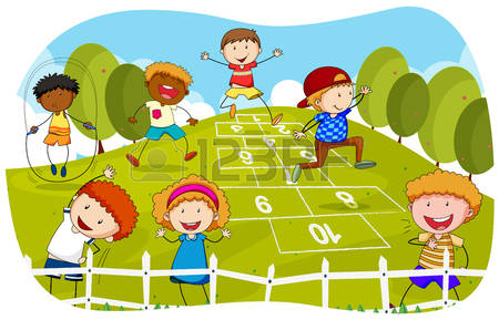 Kids Play Outside Clipart.