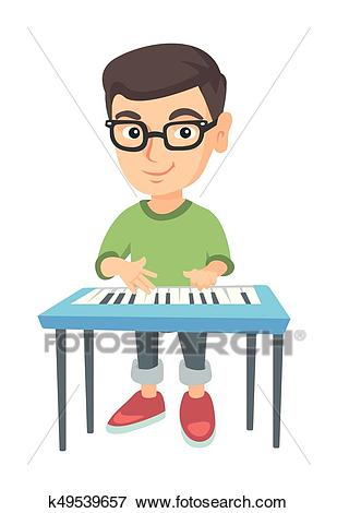 Little caucasian boy playing the piano. Clip Art.