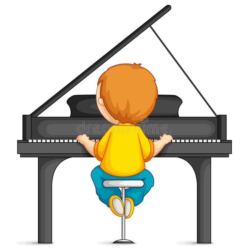 Boy Piano Stock Illustrations.