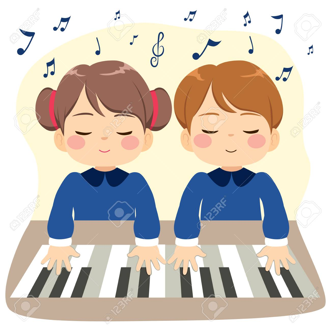 Sweet little children playing piano together with music notes.