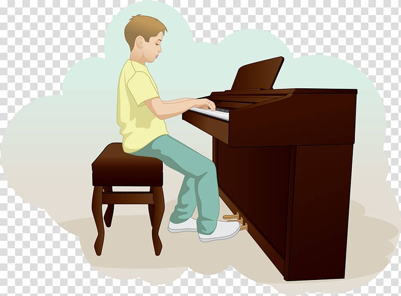 Piano Drawing Illustration, The little boy playing the piano.