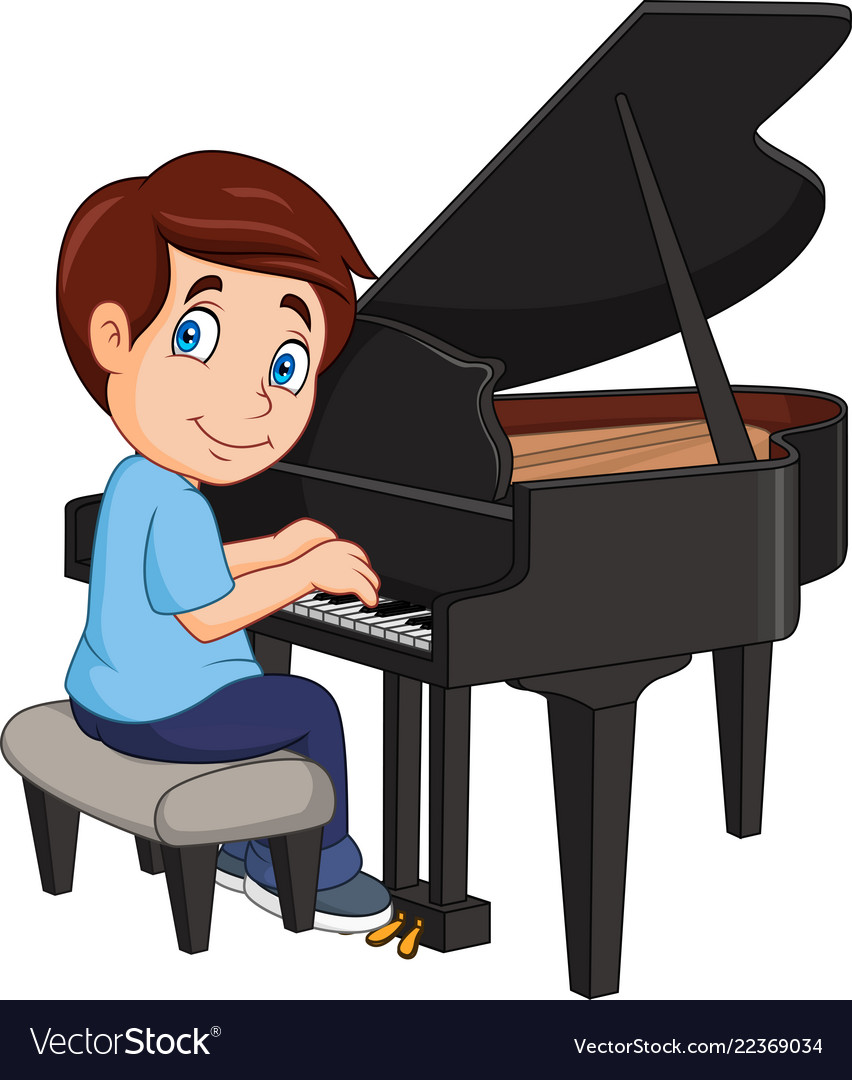 Cartoon little boy playing piano.