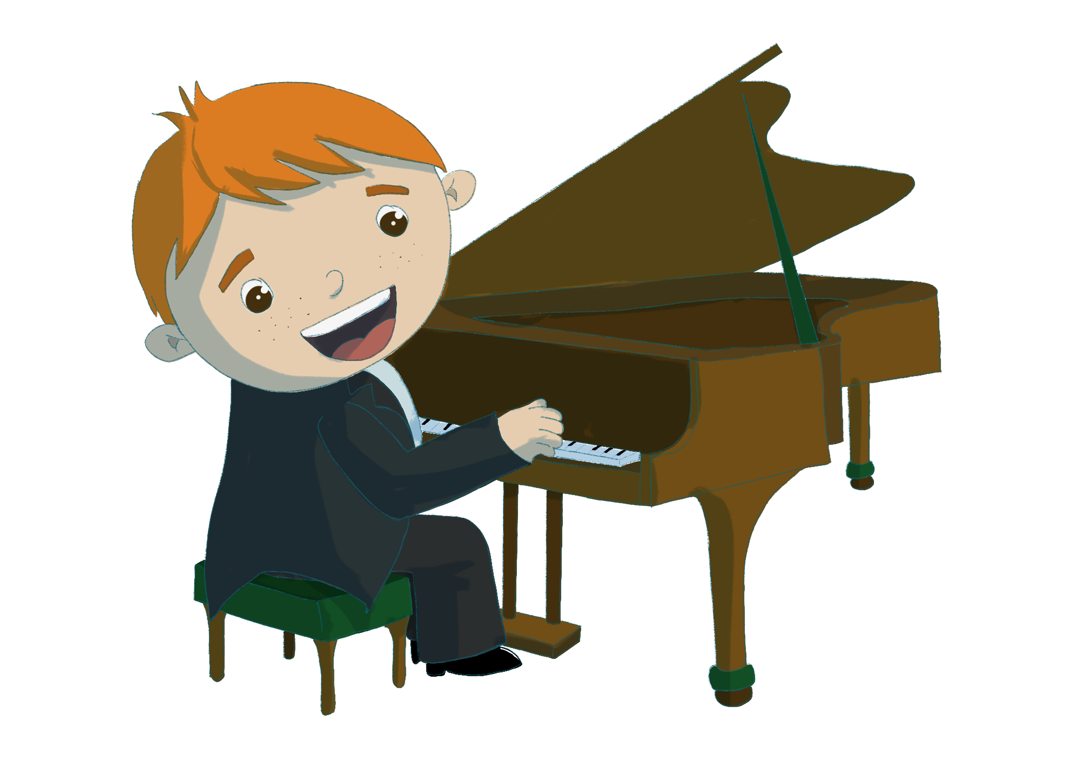 Music through the ages. Child playing the piano illustration.