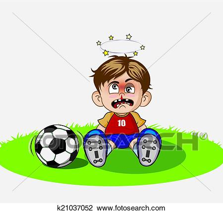 Illustration of Cartoon boy playing soccer Clipart.