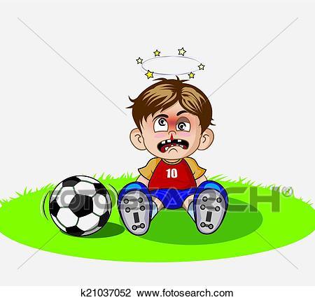 Illustration of Cartoon boy playing soccer Clipart.