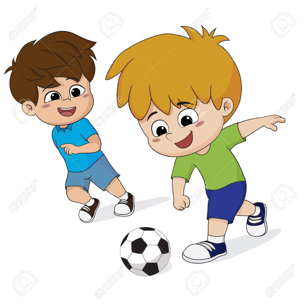 kid play soccer with friends.vector and illustration..