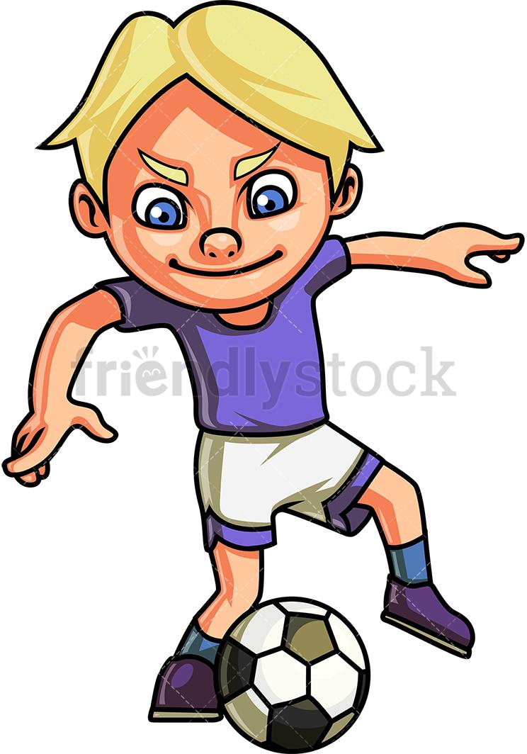 Little Boy Playing Soccer.