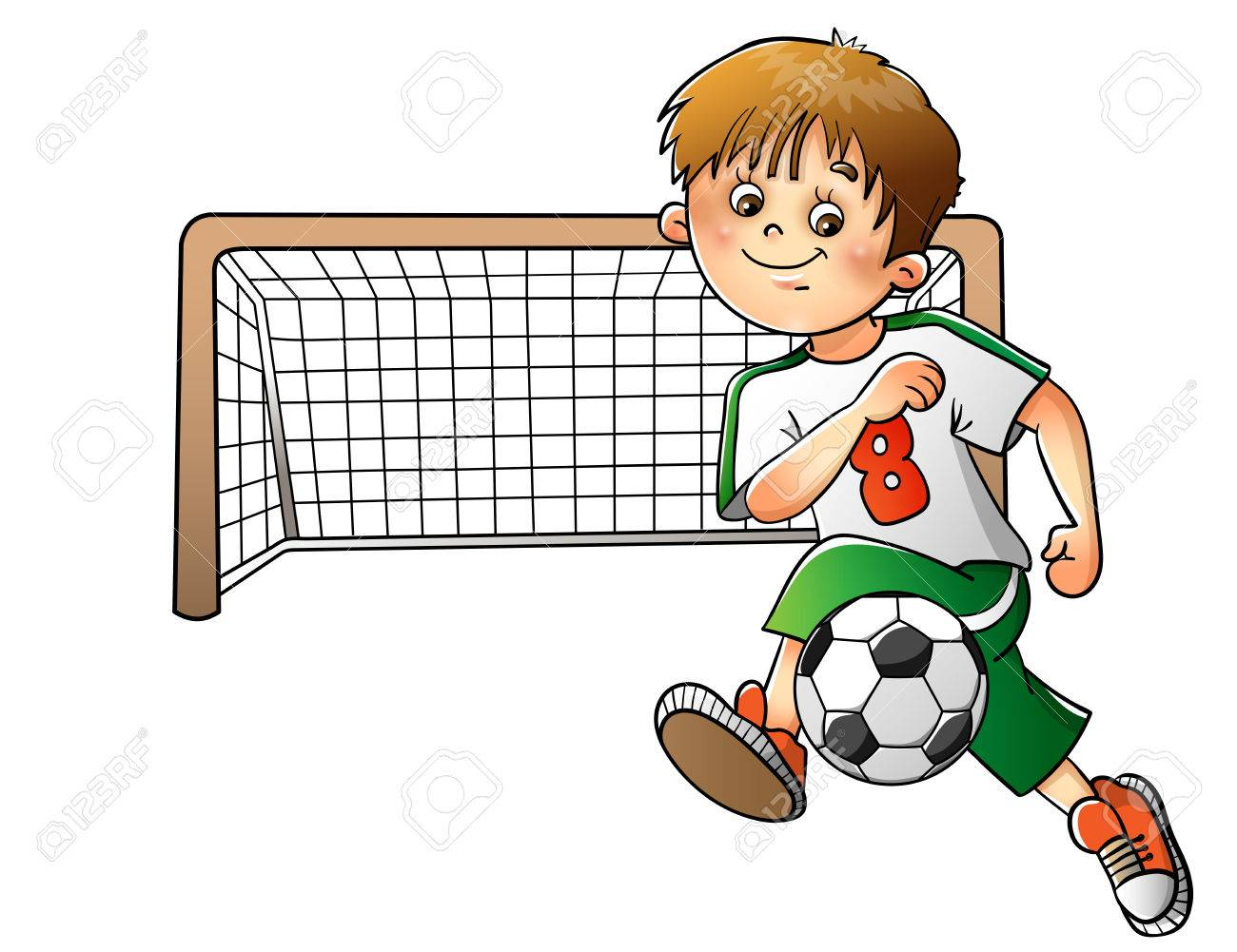 Boy playing football isolated on white background.