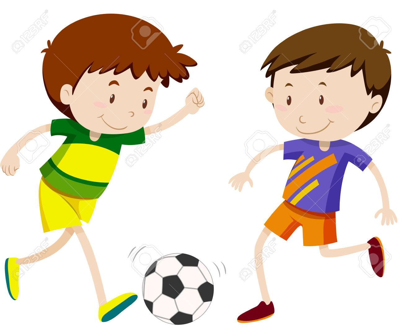 Two boy playing soccer illustration.