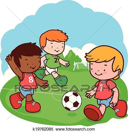 Children playing soccer. Vector illustration Clipart.