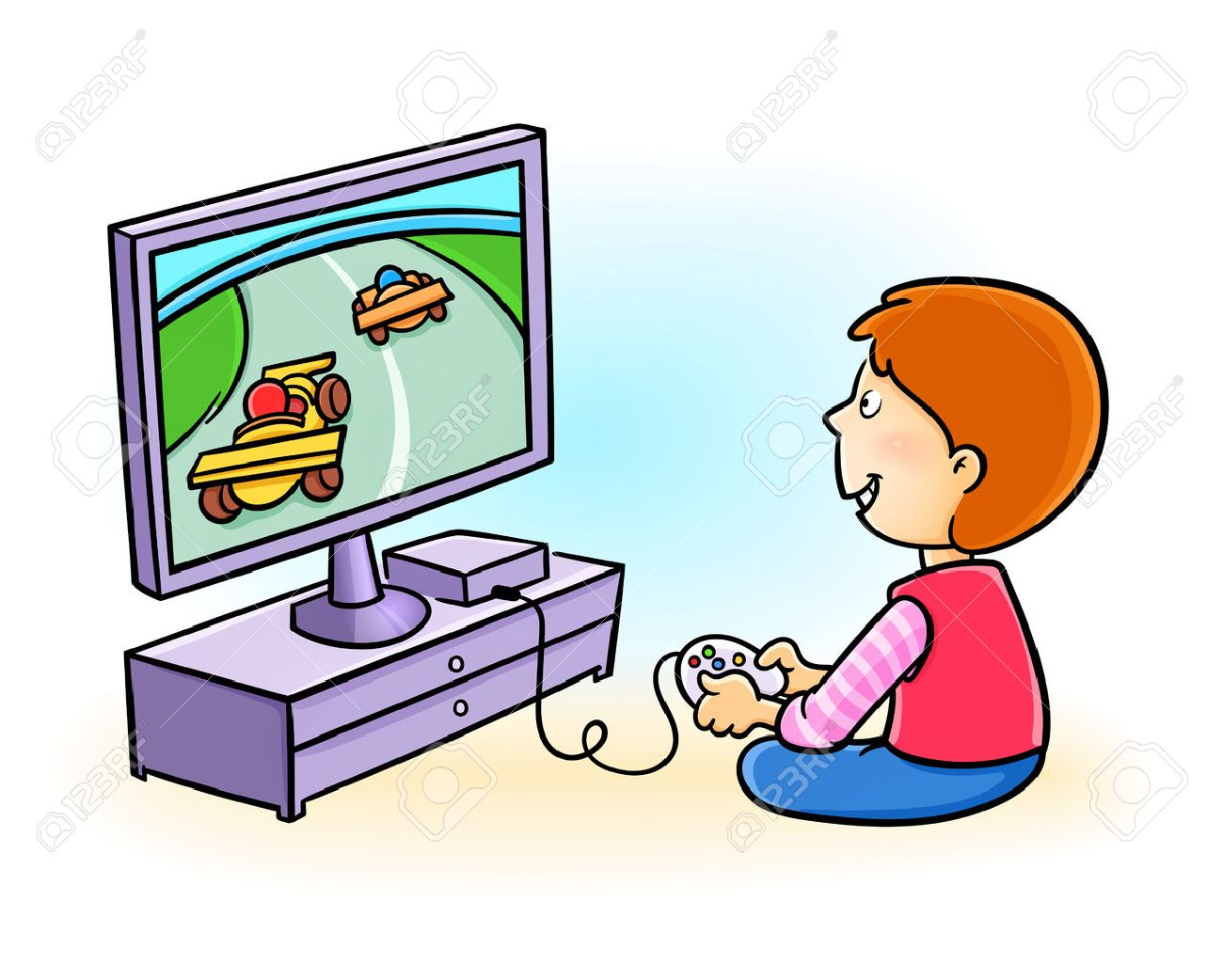 Happy little kid playing video game.