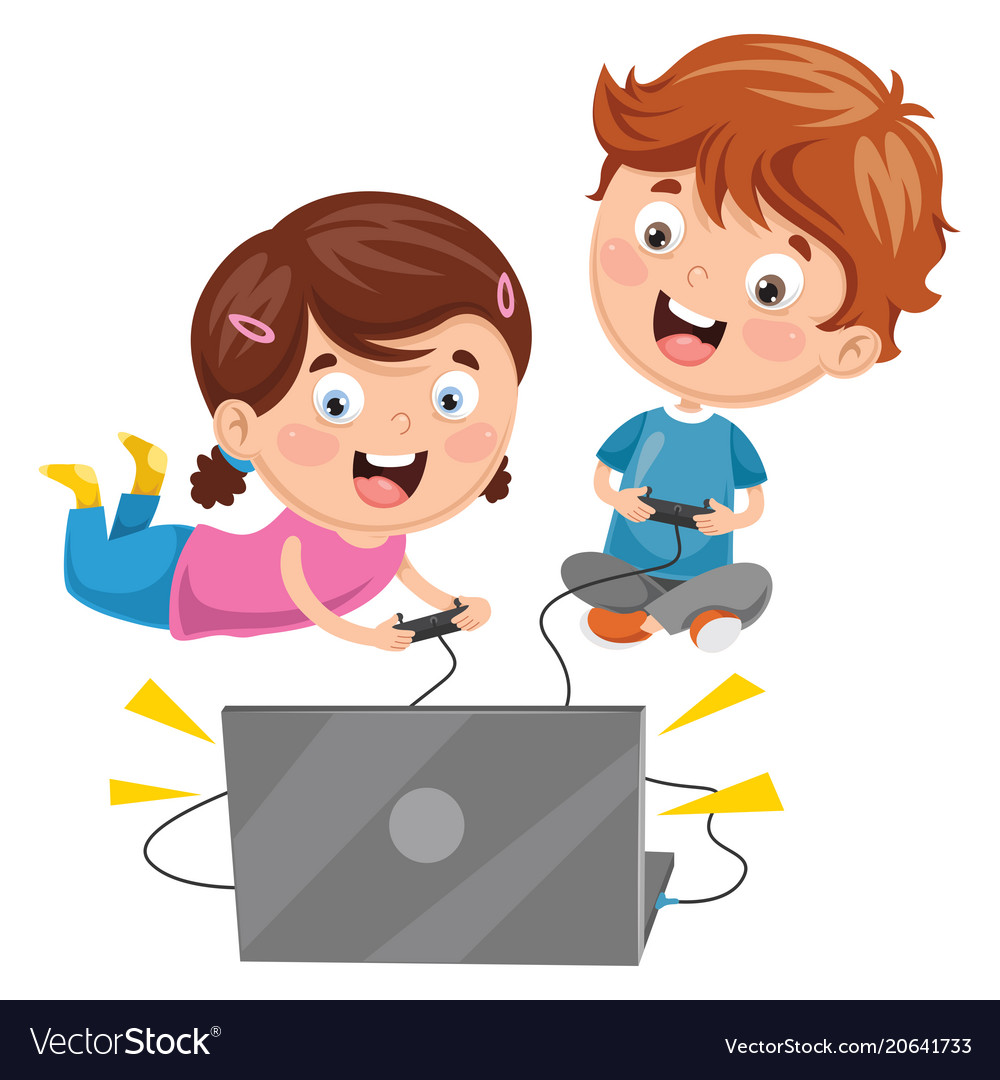 Kids playing video game.