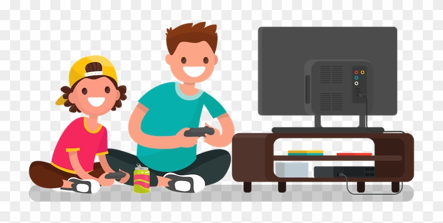 Playing Video Games Clipart.