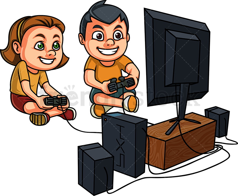 Kids Playing Video Games On Console Cartoon Vector Clipart.