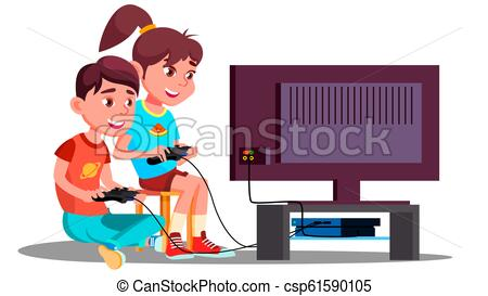 Boy And Girl Playing Video Games Together Vector. Isolated Illustration.