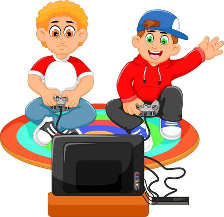 4,829 Playing Video Game Stock Vector Illustration And Royalty Free.