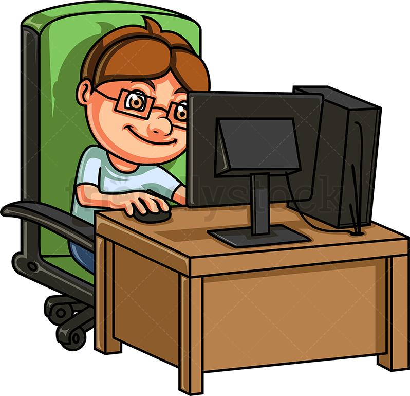 Kid Playing Video Game On PC.