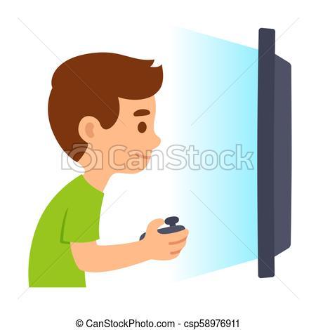 Boy playing video games.