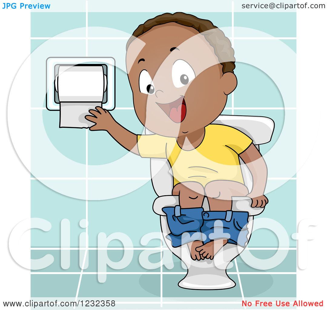 Clipart of a Black Potty Training Toddler Boy Using a Toilet.