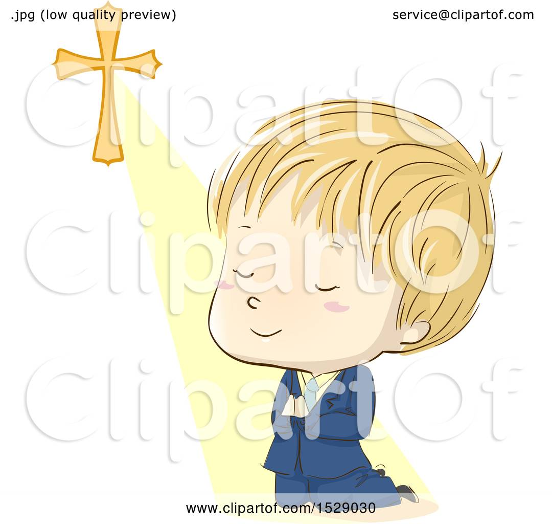 Clipart of a Sketched Blond Boy Praying and Kneeling in His First.