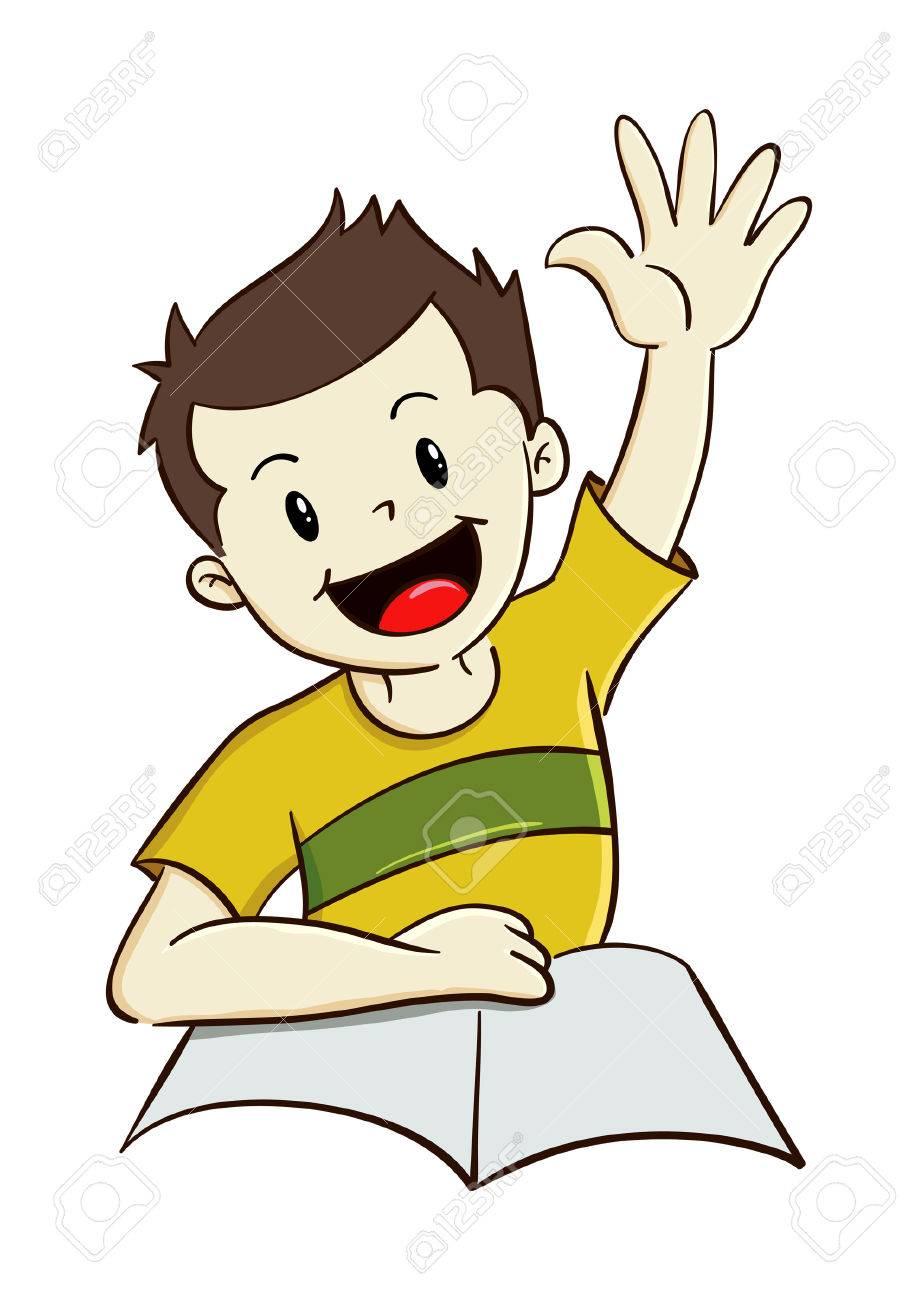 Boy raising hand while study.