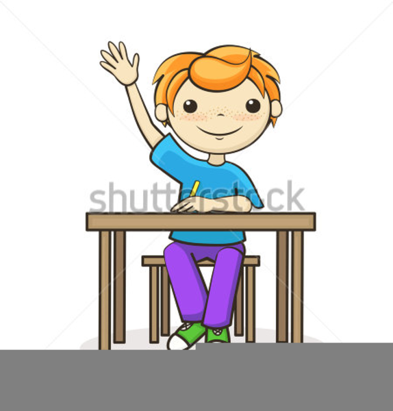 Boy Raising Hand Clipart.