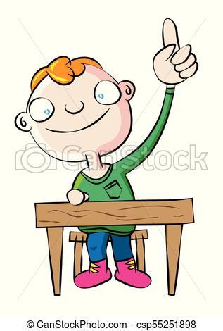 cute white school boy raise hand in class.