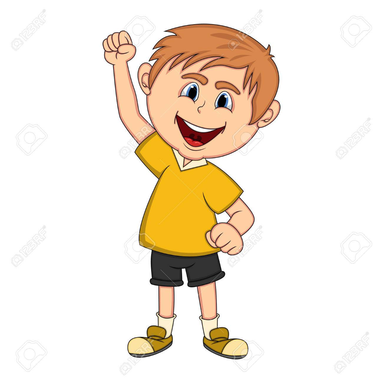Boy raised his hand cartoon.