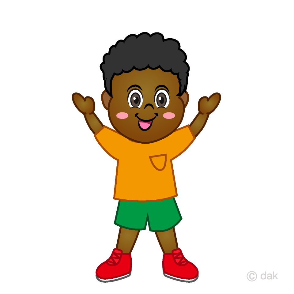 Boy raising both hands Clipart Free Picture|Illustoon.