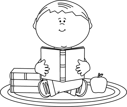 Boy Reading A Book Clipart Black And White.