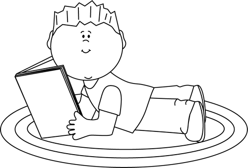 Black and White Boy Reading Clip Art.